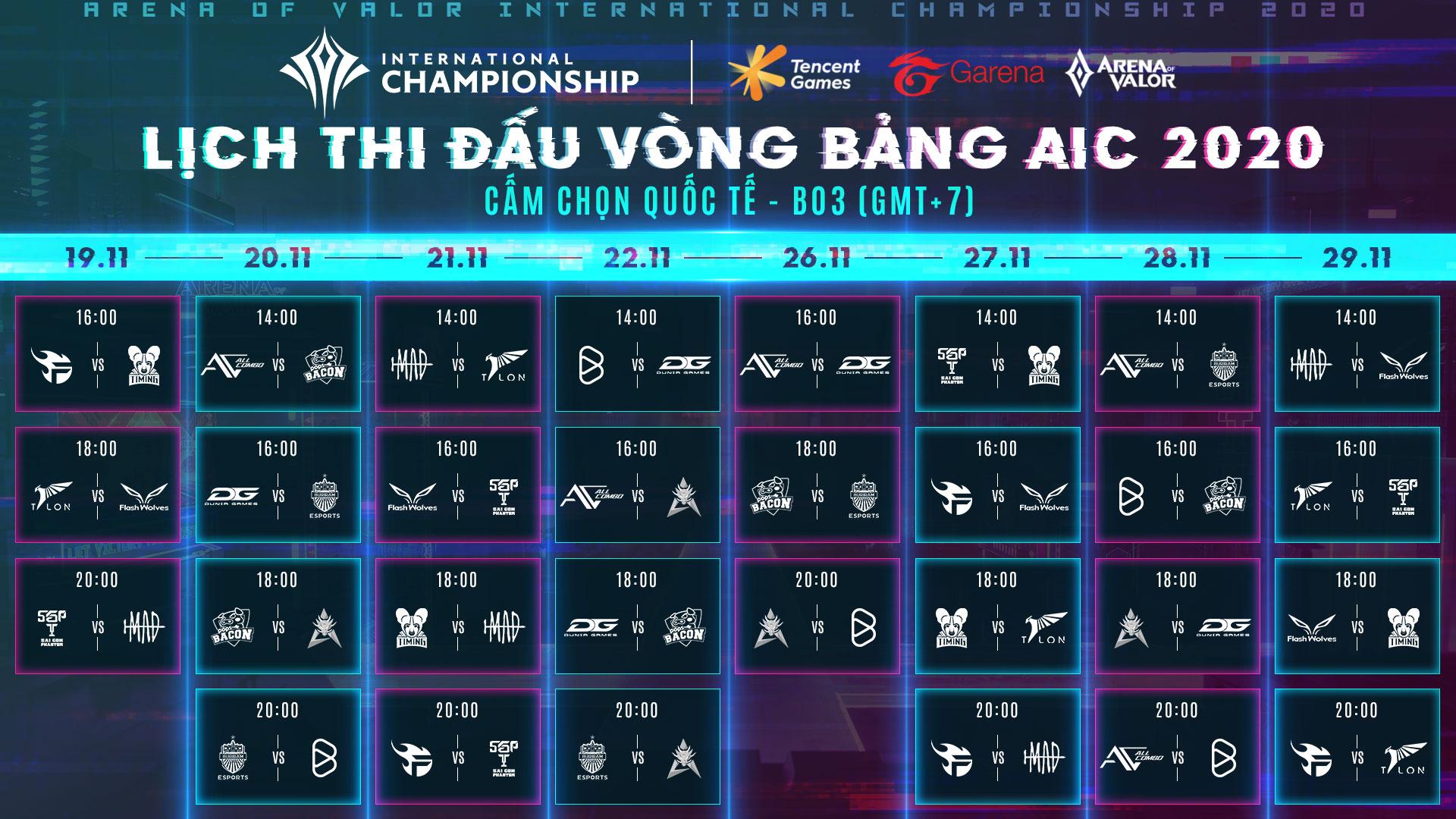 Lịch thi đấu vòng bảng AIC