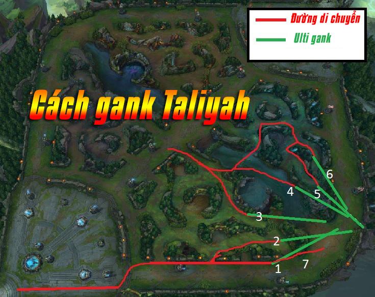 Làn đường Gank khi Taliyah ở team xanh